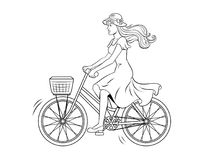 Young woman ride on bicycle coloring vector. Young beauty woman ride bicycle coloring retro vector illustration. Text bubble. Color background. Comic book style Royalty Free Stock Photography