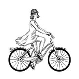 Young woman ride on bicycle engraving vector. Young beauty woman ride bicycle engraving vector illustration. Scratch board style imitation. Black and white hand Stock Image