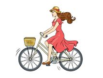 Young woman ride on bicycle pop art vector. Young beauty woman ride bicycle pop art retro vector illustration. Isolated image on white background. Comic book Stock Images