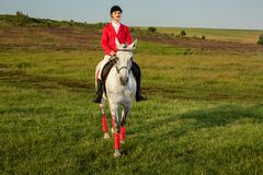 Young woman rider, wearing red redingote and white breeches, with her horse in evening sunset light. Outdoor photography in lifestyle mood stock photo