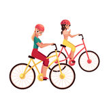 Young woman riding bicycle, cycling together with her teenage daughter. Friend, cartoon vector illustration isolated on white background. Full length portrait Stock Image