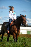 Young woman riding on a brown horse. In a field in summer Stock Image