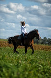 Young woman riding on a brown horse Stock Images