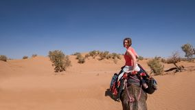 Young woman riding on a dromedary in the Moroccan sand desert. Young woman riding on dromedary in the hot Moroccan sand desert. Blue sky and sand dunes in the stock photo