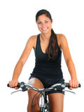 Young woman riding her bicycle Stock Photography