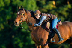 Young woman riding a horse. stock photo