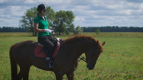 Young woman riding a horse on the green field stock video footage