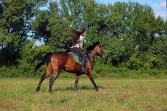 Young woman riding saddle horse stock photo