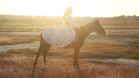 Young woman riding horse on meadow. stock footage