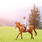 Young woman riding sorrel horse on mountain meadow Royalty Free Stock Photography
