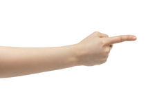 Young woman right hand counting one or show direction stock photo
