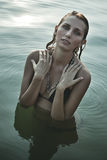 Young woman in river Royalty Free Stock Images