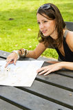 Young woman and road map stock photo