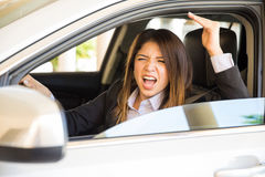 Young woman with road rage Stock Photos