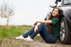 Young woman on a road trip Stock Photography