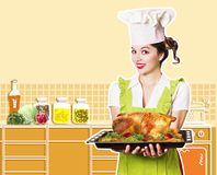 Young woman and roasted chicken. Royalty Free Stock Images