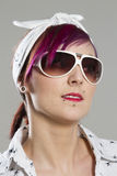 Young woman in Rockabilly style with sunglasses Royalty Free Stock Images