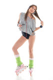 Young woman in roller skates Royalty Free Stock Photos
