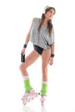 Young woman in roller skates Stock Photo
