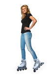 Young woman on roller skates Royalty Free Stock Image