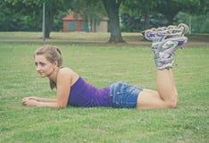 Young woman on roller skates. Stock Photos
