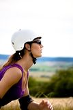 Young woman on rollerblades Stock Photography