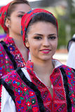 Young woman from Romania in traditional costume 6. ROMANIA, TIMISOARA - JULY 7, 2016: Young woman from Romania in traditional costume, present at the royalty free stock photo