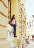 Young Woman in a Romantic Mood Viewing the City Royalty Free Stock Photos