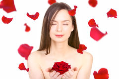 Young woman and Rose Royalty Free Stock Photo