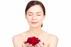 Young woman and Rose Royalty Free Stock Photos