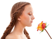 young woman with rose Royalty Free Stock Image