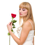 Young woman with rose Stock Image