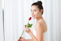 Young Woman with a Rose Royalty Free Stock Photos