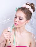 Young woman with rose, marshmallow makeup style, beauty fantasy. Royalty Free Stock Photos