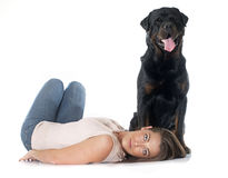 Young woman and rottweiler Stock Images