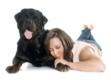 Young woman and rottweiler Stock Photo