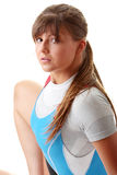 Young woman in rowing suit Stock Images