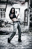 Young woman in a ruined building Royalty Free Stock Photo