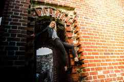 Young woman in ruins Royalty Free Stock Images
