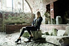 Young woman in ruins Stock Photos