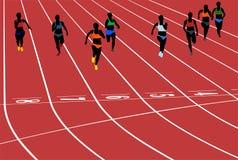 Young woman runner running. Sprint in stadium vector illustration royalty free illustration