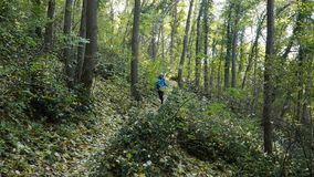 Young woman running on forest trail. Young woman running on autumn forest trail stock video