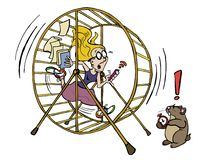 Young woman running in the hamster wheel vector illustration