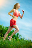 Young woman running summer park rural road. Outdoor exercises. J Royalty Free Stock Photography