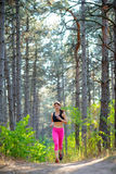 Young Woman Running on the Trail in the Beautiful Wild Pine Forest. Active Lifestyle Concept. Space for Text. stock photography