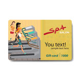 Young woman running on a treadmill. Sale discount gift card. Royalty Free Stock Image