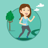 Young woman running vector illustration. Stock Photography