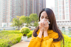 Young Woman runny nose Royalty Free Stock Photos