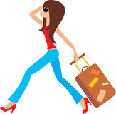 Young woman runs with a suitcase Stock Images