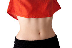 Young woman's belly, isolated, landscape. Royalty Free Stock Photo
